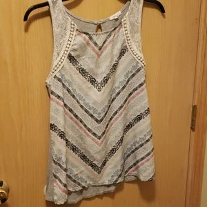 Maurices Medium tank with lacy sleeve detail